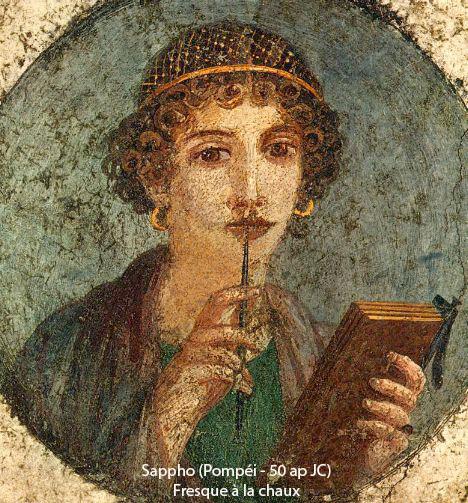 Sappho - pompéi - fresque à la chaux